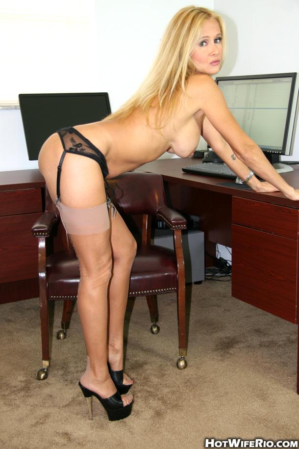 Wife in tan stockings