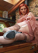 Vixen in tan nylons and platou shoes