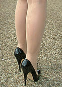 Amateur outdoors in heels and nylons