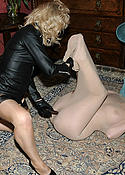 Nylone Sue wraps her friend in pantyhose