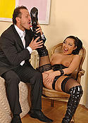 Asian babe in black boots and nylons fucking