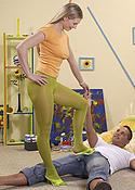 Sexy blonde green pantyhose footjob pics