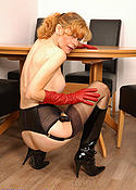 Lady in Boots, Gloves and seamed Stockings