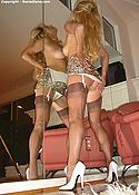 Blonde Wife Stockings & Heels Dancing in Mirror