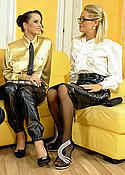 Lesbian in black pantyhose gets teased by 2 girls