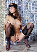 Cute brunette in black stockings