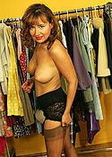 Amateur tries on stockings and lingerie