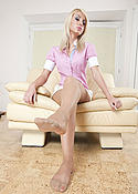 Blonde pantyhose feet