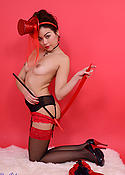 Asian Petra in black stockings