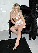 hot blonde dresses in satin and nylons