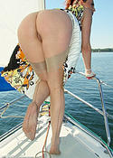 boat babe gets naked in nylons